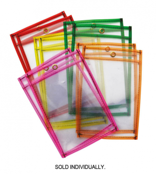 "Dry Erase Pocket Neon Assorted Color (9"" x 12"")"