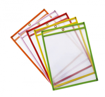 "Dry Erase Pockets Bright Hues Assorted (6"" x 9"") 10 pieces"