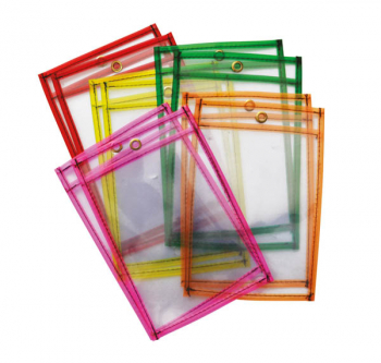 "Dry Erase Pockets Neon Colors (9"" x 12"") 10 pieces"