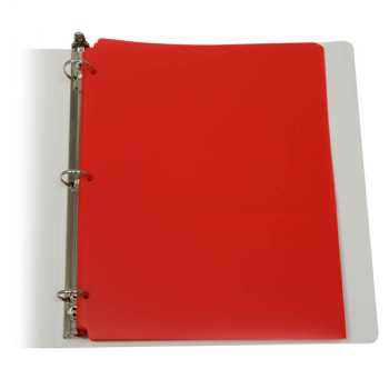 Two-Pocket Poly Portfolio Red with 3 Hole Punch