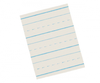 "Zaner-Bloser Broken Midline Newsprint Paper Ream (3/8"" Ruled Short) with Blue Baseline"