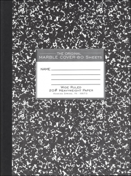 Hard Cover Black Marble Composition Book - Wide Ruled (80 sheets)