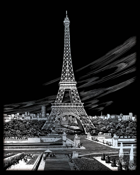 Engraving Art - Eiffel Tower (Silver Foil)