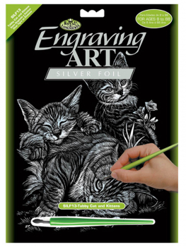 Engraving Art - Tabby Cat & Kitten (Silver Foil)