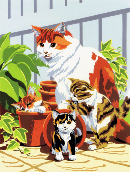 Painting By Numbers - Cat & Kittens (Junior Small)