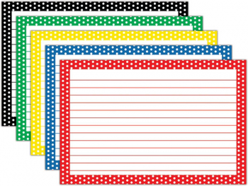 "Border Index Cards - Lined Assorted Polka Dot 4"" x 6"" (75 count)"