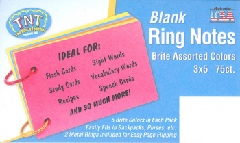 "Ring Notes Blank Bright Assorted Index Cards 3"" x 5"" (75 count)"