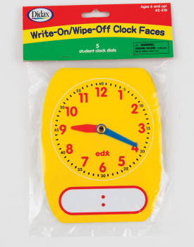 Write-On/Wipe-Off Clock Faces
