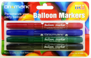 Balloon Markers Bold Colors - Red, Blue, Green & Black (4 pack)