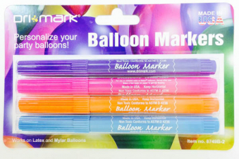 Balloon Markers Bright Colors - Purple, Pink, Orange & Turquoise (4 pack)