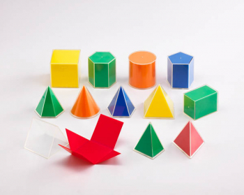 2D3D Geometric Solids (12 shapes in 5 colors)