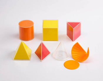 2D3D Geometric Solids (6 shapes in 3 colors)