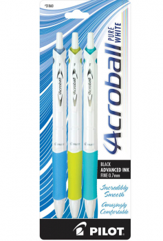 Acroball Pure White Fine Point Pen - Black Ink (Assorted Accents Blue, Lime, Turquoise)