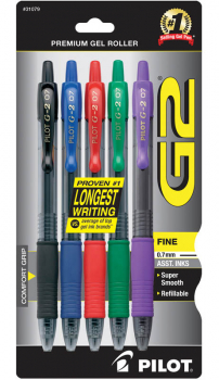 G2 Premium Gel Roller Fine Point Pen - Assorted Primary Colors (5 pack)