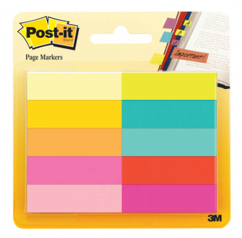 "Post-It Page Markers (1/2"" x 1 3/4"") Assorted Bright Colors -10pads/package"