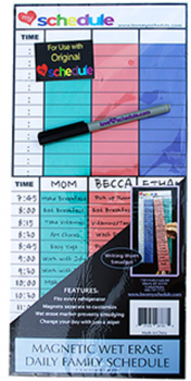 "Magnetic Wet Erase Daily Family Schedule (7"" x 15"")"