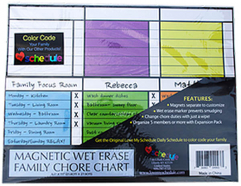 "Magnetic Wet Erase Family Chore Chart (8.5"" x 11"")"