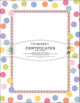 Dots School Certificates with Stickers (Package of 25)