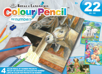 Colour Pencil By Numbers Art Activity Set - Animals