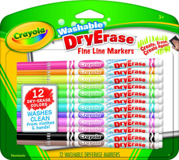 Crayola Washable Dry-Erase Markers, Fine Line 12 count