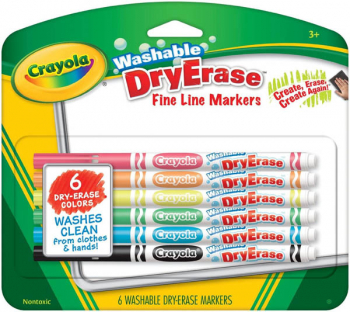 Crayola Washable Dry-Erase Markers, Fine Line 6 count