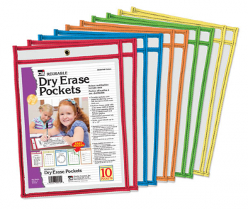 Dry Erase Pockets - Reusable, Easy Loading (set of 10)