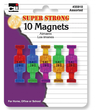 Super Strong Magnets - Assorted Translucent Colors (10 pack)