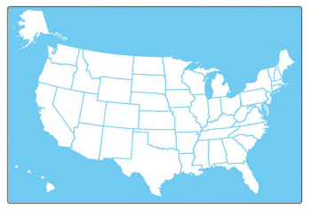 "US Map Dry Erase Board - Two-Sided (18"" x 12"")"