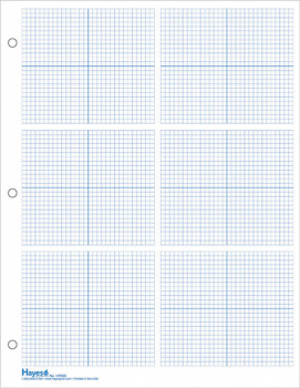 "Graph Paper, 6 Grid 1/8"" Blue Squares (100 sheet pack)"