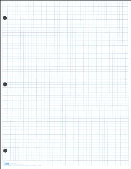"Graph Paper, Classic 1/6"" Blue Squares (100 sheet pack)"