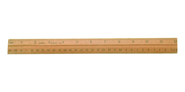 Ruler - Wood - Double Beveled/Metal Edge Coated