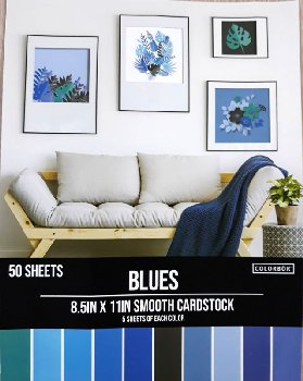 "Smooth Cardstock Paper Pad 8.5"" x 11"" - Blues"