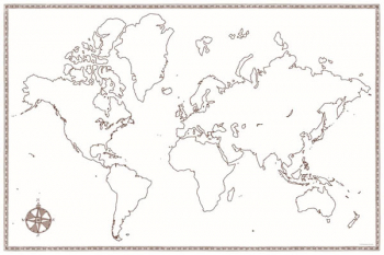 "World Map - Large Foldable Blank (24"" x 36"")"