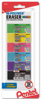 Hi-Polymer Block Eraser Colors, Small, 6 pack