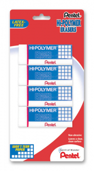 Hi-Polymer Block Eraser, Large, White, 4 pack