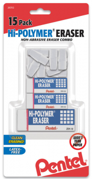 Hi-Polymer Eraser, White Mixed Pack, 15 pack