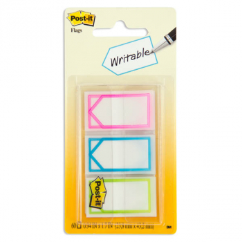 "Post-It Memo Flags (1"") Assorted Bright Colors (60 Flags/Dispenser)"