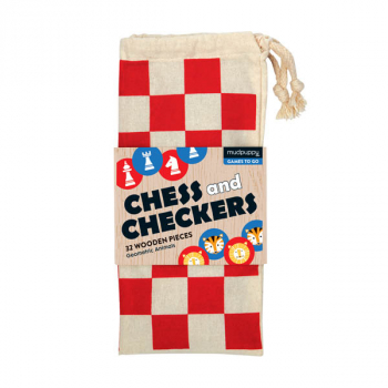 Chess and Checkers Wooden Geometric Animals in Cloth Bag