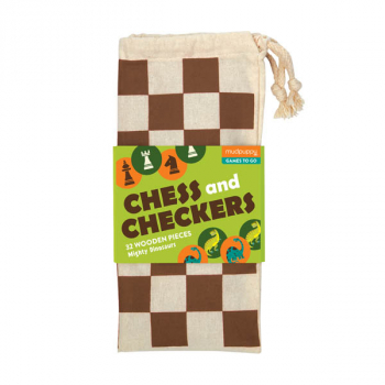 Chess and Checkers Wooden Mighty Dinosaurs in Cloth Bag