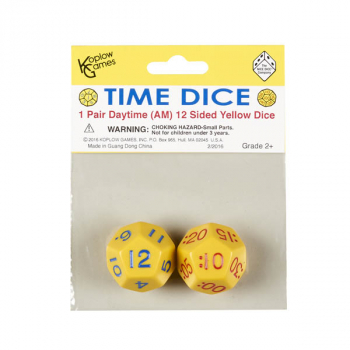 Time Dice 1 Pair Daytime 12 Sided Yellow