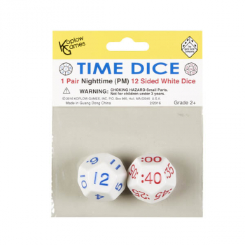 Time Dice 1 Pair Nighttime 12 Sided White
