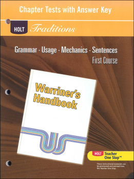 Holt Traditions Warriner's Handbook Chapter Tests With Answer Key Grade 7 First Course