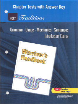 Holt Traditions Warriner's Handbook Chapter Tests With Answer Key Introductory Course
