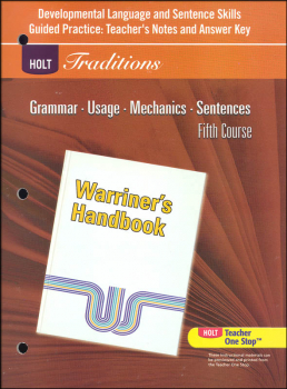 Holt Traditions Warriner's Handbook Developmental Language and Sentence Skills Answer Key Grade 11 Fifth Course