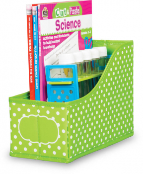 Book Bins - Lime Polka Dots