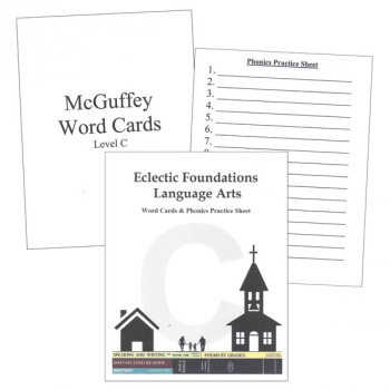 Eclectic Foundations Language Arts Level C Word Cards and Phonics Practice Sheets