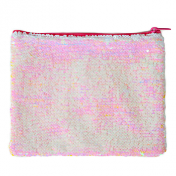 Iridescent Pink/White Magic Sequin Zip Pouch