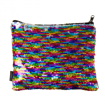 Rainbow / Silver Magic Sequin Zip Pouch