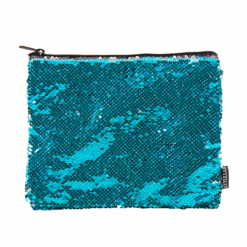 Turquoise / Silver Magic Sequin Zip Pouch