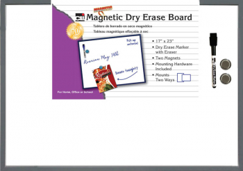 "Magnetic Dry Erase Board  (17"" x 23"") with Eraser/Marker and 2 Magnets - Gray Frame"